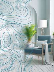 Autocolant transparent cu aspect mat model Linii Abstracte Albastre