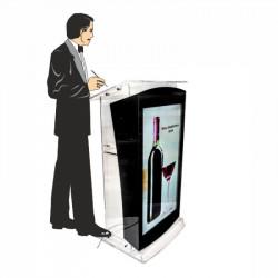 Pupitru Digital Dr. LECTERN, pentru conferințe, din plexiglas transparent, cu televizor