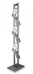 Stand din aluminiu și plexiglas pentru flyere, reviste sau cataloage