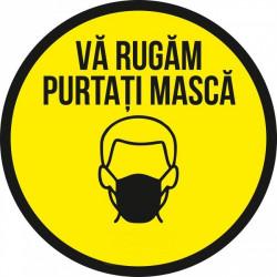 Autocolant Cerc Va Rugam Purtati Masca 20 x 20 cm