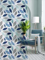 Autocolant transparent cu aspect mat model Frunze in Nuante Albastre
