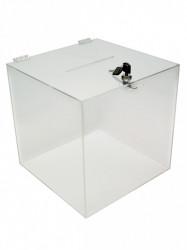 Urnă transparentă din plexiglas, cutie pentru donații , Urna cub 250mm