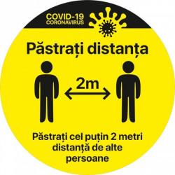 Autocolant Cerc Pastrati Distanta 2m alte persoane 20 x 20 cm