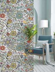Autocolant transparent cu aspect mat model Flori si Pasari