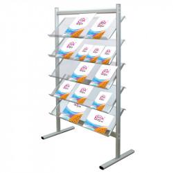 Stand pentru reviste, brosuri sau ziare cu cinci rafturi 4 x A4, din plexiglas