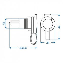 Priză auto12V / 16A pentru stecher ISO4165, pentru montaj încastrat sau aplicat