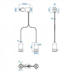 Adaptor 1 priza USB + 2 prize bricheta 12V