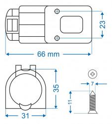 Priza 12V, 16A pentru montaj aplicat
