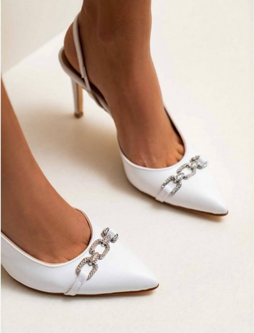Pantofi Olive White