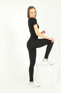 Set Fitness 3d black maneca scurta