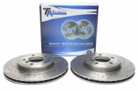 Discos frontais Ta-Technix Ranhurados + Perfurados + Ventilados BMW E46  325mm