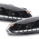 Faróis Daylight LED Daytime Running Luz VW Golf 6 Tipo 1K ano 08- preto