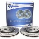 Discos frontais Perfurados + Ranhurados + Ventilados Peugeot 207 266mm