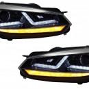 Faróis VW Golf 6 VI (2008-2012) Luzes de giro dinâmicas sequenciais LED cromadas