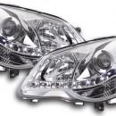 Faróis de luz diurna VW Polo 9N3 cromados 05-09