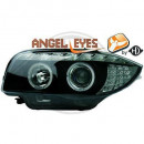 Farois pretos Angel Eyes LED BMW E81, E82, E87, E88