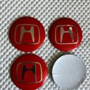 Centros de Jantes 3D Honda 56mm vermelhos