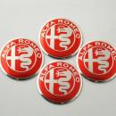 Centros de Jantes em 3D Alfa Romeo 50mm vermelhos
