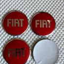 Centros de Jantes em 3D Fiat 56mm vermelhos
