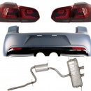 Pára-choque traseiro Volkswagen Golf VI (2008-2013) R20 Design com luzes traseiras Full LED vermelho / fumaça e sistema de escape completo