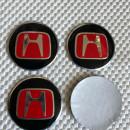 Centros de Jantes 3D Honda 56mm pretos e vermelhos