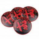 Centros de Jantes em 3D Alfa Romeo 50mm vermelhos e pretos