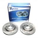 Discos Ta-Technix Perfurados + Ranhurados + Ventilados Honda Civic EG, EH, EJ, EK, EM1 240mm
