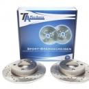 Discos traseiros Ta-Technix Ranhurados + Perfurados + Ventilados Seat Ibiza 6K2 232mm