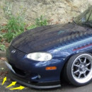 Lip frontal universal de borracha adapável em Mazda MX5 MK1