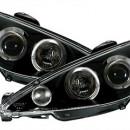 Faróis Angel Eyes Peugeot 206 em preto