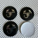 Centros de Jantes em 3D Abarth 56mm pretos