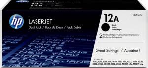 HP 12a / Q2612AC, Cartus toner original, Negru, Dual Pack 2 x 2000 pagini