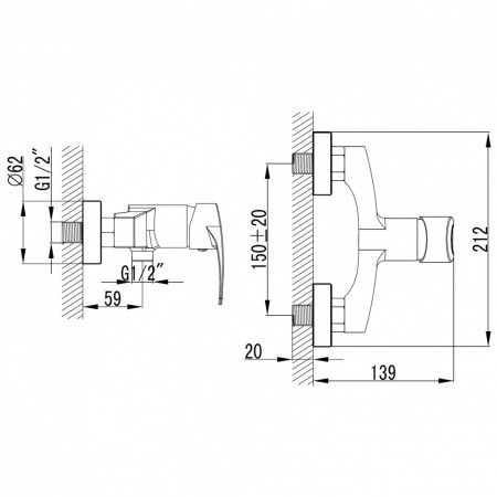 Baterie perete dus Fosca, crom fara accesorii - BFA7