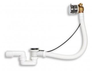 Coloana automata cada cu alimentare apa si sifon D.1 1/2x40/50, PP alb /crom