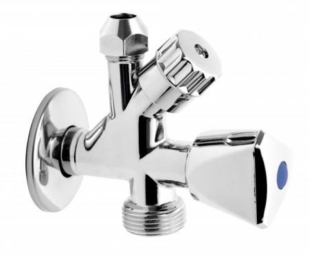 """Robinet coltar combinat 1/2""""x3/8""""x3/4"""" cu robinet pentru masina de spalat"""