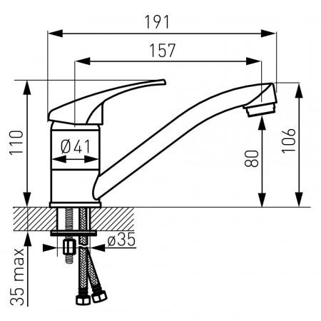 Set FERRO BASIC 4in1 Baterie perete dus + Set para dus + Baterie stativa bucatarie cu pipa mobila 15 cm, Baterie stativa lavoar cu ventil, crom