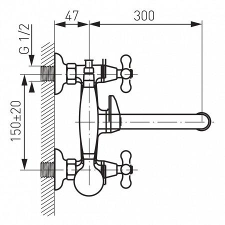 Baterie perete cada/dus Retro, crom cu accesorii - XR11A