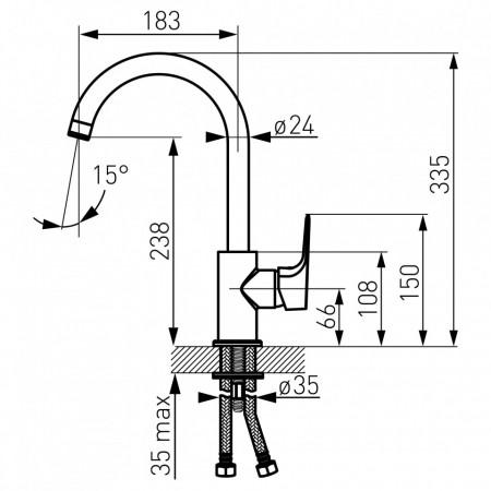 Baterie stativa bucatarie Tiga VerdeLine, crom - BTG4VL