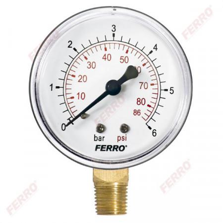 """Manometru 63 mm 1/4"""" radial, 0-6 bari"""