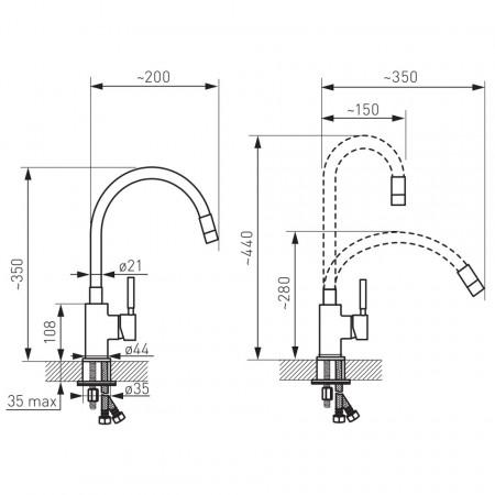 Baterie stativa spalator Zumba, crom/negru, pipa elastica - BZA4B