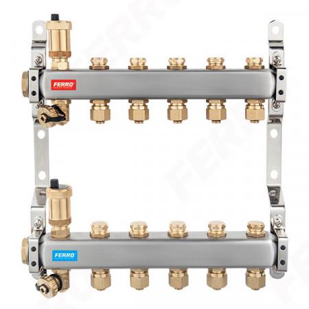 "Distribuitor/colector 1"" din inox 10 circuite cu ventile inchidere"