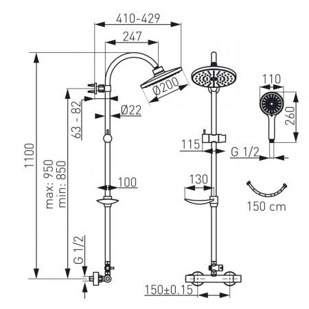 Sistem de dus Ferro Trinity TRM7, baterie termostat dus, set dus cu bara si para dus, crom