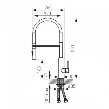 Baterie stativa spalator Libretto, crom/negru, pipa elastica extractibila - BLE4B