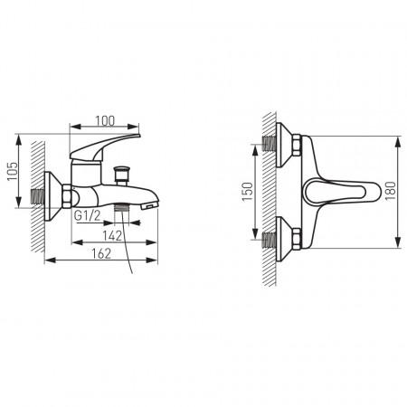 Set FERRO BASIC 3in1 Baterie cada-dus + Set para dus + Baterie stativa lavoar cu ventil, crom