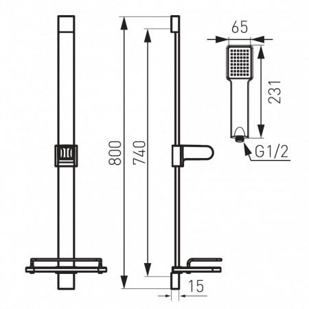Set FERRO QUADRO& BASIC 2in1 Coloana de dus mobila QUADRO cu raft cosmetice + Baterie cada/dus Basic