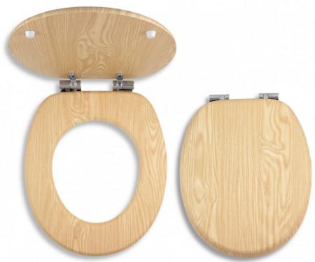 Capac WC din lemn de frasin, natur