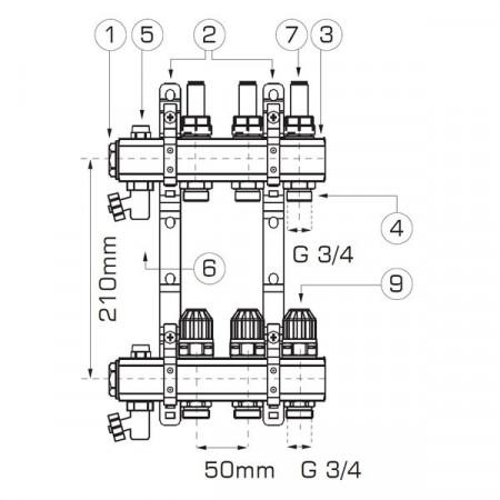 "Distribuitor/colector-repartitor tip RZP 1"" 4 cai - RZP04S cu racorduri incluse"