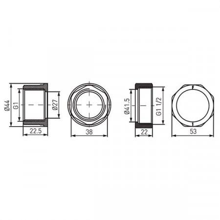 "Racord hollender teava-pompa din alama 6/4""x1"" (set2buc) - SG18"