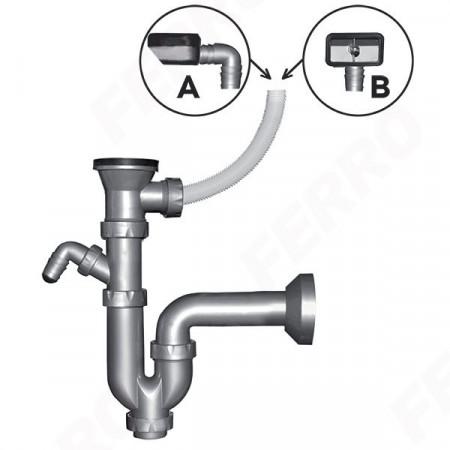 Sifon pentru chiuveta DN 40 cu ventil si preaplin 49 mm
