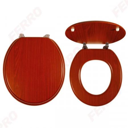 Capac WC din lemn de nuc, natur inchis